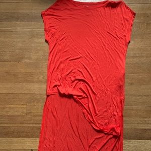 NEW W TAGS orange dress with slanted front cut off